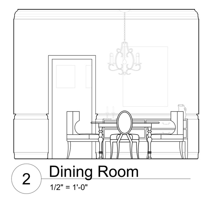Autocad process work design by heather for Dining room elevation